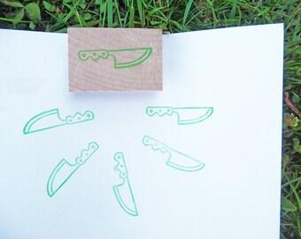 Tampon en gomme, motif couteau de cuisine, gravé à la main