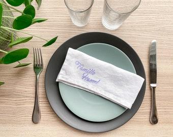 Set of 4 monogrammed linen dinner napkins, reuseable napkins, eco friendly gifts kitchen, linen napkin set, housewarming gift first home