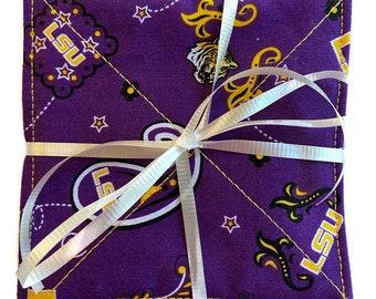 Louisiana State University LSU Fabric Coasters, Set of 4 Coasters, LawsonCreations