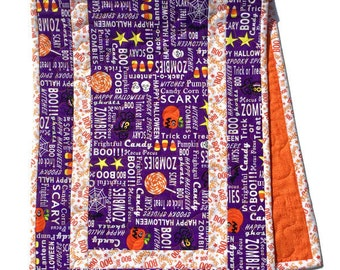 Halloween Quilted Table Runner Purple and Orange, Halloween Table Decor, Table Runner Quilt, Halloween Tablecloth, Quiltsy Handmade