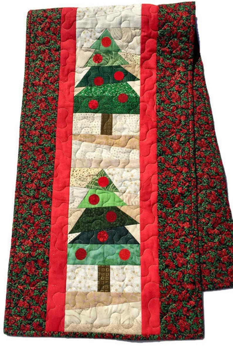 Christmas Table Runner To Make.Christmas Quilted Table Runner Green Trees Quilted Christmas Table Decor Christmas Bureau Scarf Lawsoncreations Quiltsy Handmade