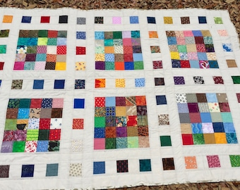 Patchwork Lap Quilt, Patchwork Lap Blanket Patchwork Throw Quilt, Scrappy Throw Quilt, Scrappy Lap Quilt, Couch Throw, Quiltsy Handmade