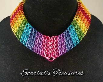 Rainbow chainmaille necklace.