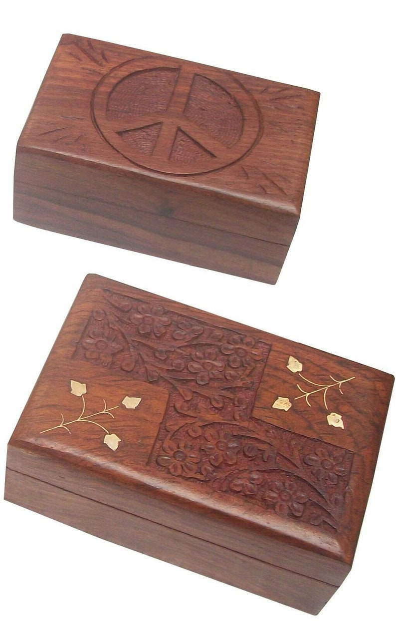 New Well packed. Wooden Hand Carved Inlaid Trinket Jewelry Boxes Set of 2 Pcs