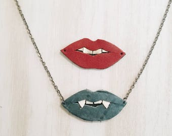 For the Love of Fangs...or Lips Leather Necklaces