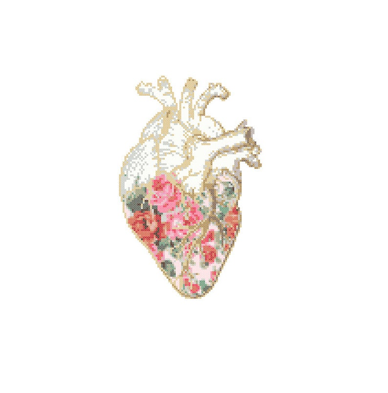 Floral Anatomical heart Cross Stitch Pattern cross stitch image 0