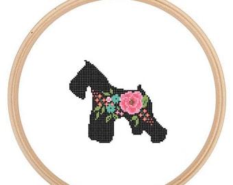 Miniature Schnauzer Silhouette Cross Stitch Pattern Floral Schnauzer Pet animal wall art Miniature Schnauzer Dog cross stitch modern gift