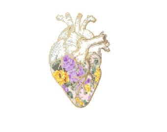 Floral Anatomical heart Cross Stitch Pattern cross stitch Floral heart Science geeky cross stitch floral cross stitch pattern Purple