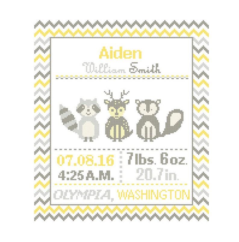 Cross Stitch custom Pattern Baby Boy Girl Personalised Birth Announcement Birth Record Forest Friends Fox Racoon Deer woodland Nursery polka