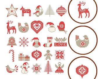 25 Christmas ornaments cross stitch Modern Christmas Cross Stitch Pattern Nordic Christmas Ornaments cross stitch scandinavian theme