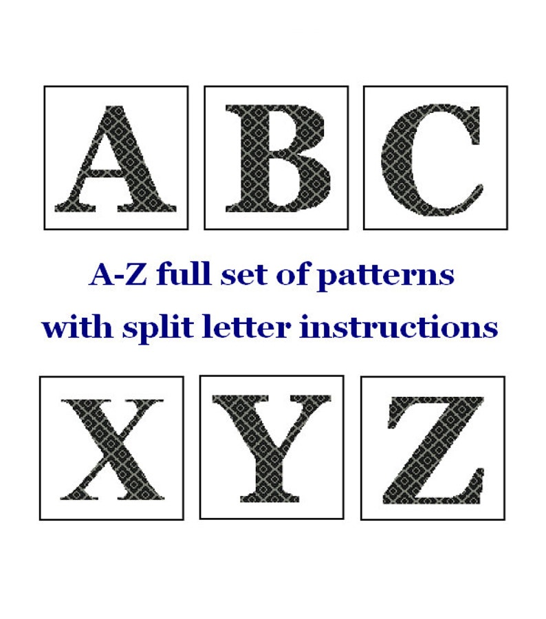 Monogram Cross Stitch A-Z alphabet set Letter cross stitch image 0