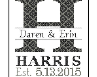 1 custom Monogram Cross Stitch Pattern Modern cross stitch monogram Initial Family Wedding Gift House Warming Wedding Record Anniversary