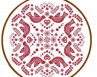 Mandala Cross Stitch Pattern Folk Art cross stitch red Geometric cross stitch tribal vintage cross stitch cushion cross wall art