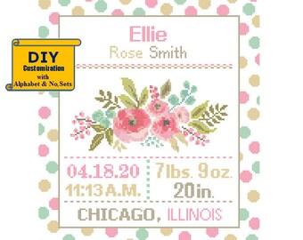 Florals Cross Stitch Birth Announcement cross Stitch Birth Record Floral Baby Girl Floral Nursery Pink teal birth sampler flowers