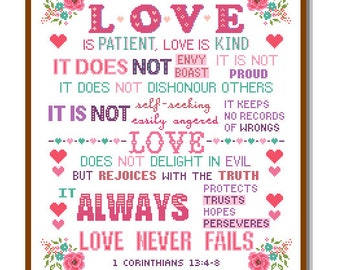 Modern Cross Stitch Pattern Corinthians 13:4-8 Love is Patient and kind Love never fails Bible verse scripture motivational Christmas cross