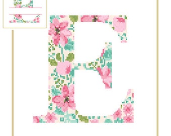 Floral Monogram E Cross Stitch Pattern E Initial E Letter cross stitch Baby birth nursery split letter cross Wedding Anniversary Wedding