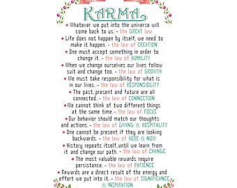 Laws of Karma Modern Cross Stitch Pattern Inspirational, motivation quote Text wall art gift motivational cross stitch