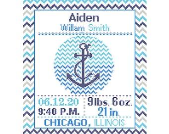 1 Cross Stitch custom Pattern Baby Boy Personalised Birth Announcement Birth Record Anchor Red Blue Navy Nautical Nursery chevron