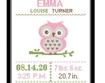 1 Cross Stitch custom Pattern Baby Girl Personalised Birth Announcement Birth Record Owl Bird Pink Green Brown Nature Woodland Nursery Gift