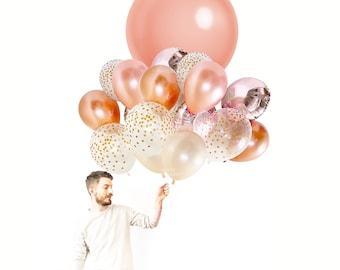 Rose Gold Balloon Bouquet ( Large Balloon Bundle with Confetti Balloons ) - Copper Fall / Autumn Wedding Decor Ideas / Bachelorette Decor