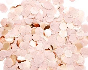 "Blush Rose Gold Confetti - Tissue Paper - Pink Ivory - 1"" Circle One Inch Handmade Hand Cut - Choose .5 oz or 1 oz"
