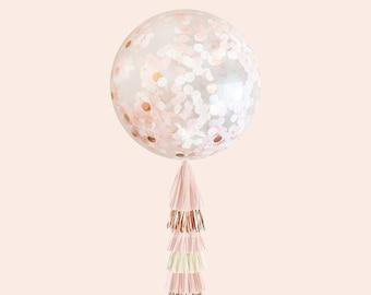 Blush & Rose Gold Giant Confetti Balloon with DIY Tassels (Jumbo Bridal Shower, Wedding, Baby Shower, or Birthday Decoration)