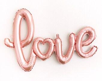 """Or rose amour ballon - 40"""" Script - (fard à joues rose Mylar or feuille amour ballons) - douche de mariage, mariée, partie de Bachelorette rose clair"""