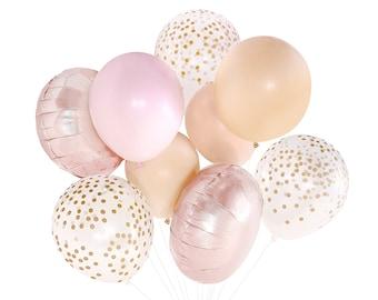 Blush and Rose Gold Balloons ( Balloon Bouquet Bundle with Confetti Balloons ) - Copper Fall / Autumn / Spring / Summer Wedding Decor Ideas