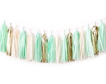 Mint Tassel Garland DIY Kit - Ivory, Gold, White Paper Room Wedding Shower Tissue Tassle Decor Balloon Tail