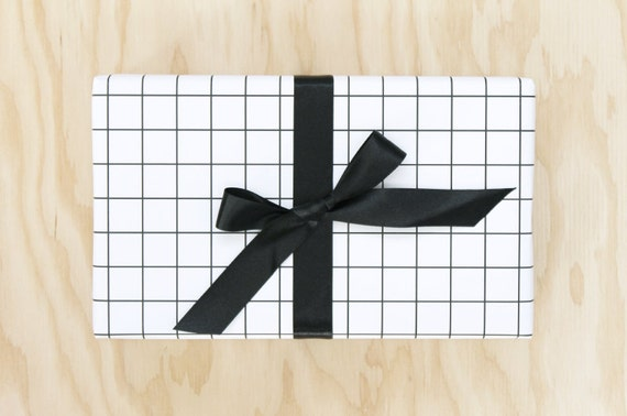 Black And White Grid Wrapping Paper Graph Paper Gift Wrap Etsy