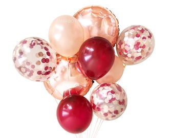 Burgundy Rose Gold and Blush Pink Balloons ( Balloon Bouquet Bundle ) - Fall / Autumn Wedding Decor