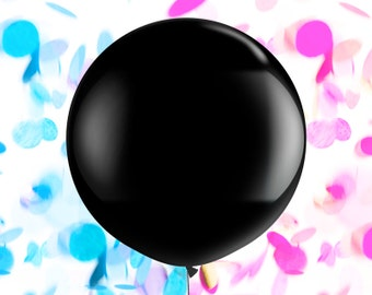 "Gender Reveal Balloon Confetti Balloon - 36"" Jumbo Round Black Balloon - Hot Pink Peach Coral Gold Blue Mint Navy Baby Shower Announcement"
