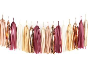 DIY Tassel Garland Kit - Mulled Wine - Tissue Paper Modern Room Tassle Decor Balloon Tails - Fall Party Thanksgiving Copper Rose Gold