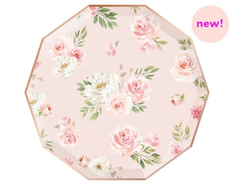 Floral Paper Plates - Dinner - Blush Pink & Rose Gold - Wedding Bridal Shower Bachelorette Party First Birthday Ideas - One Roses Peonies