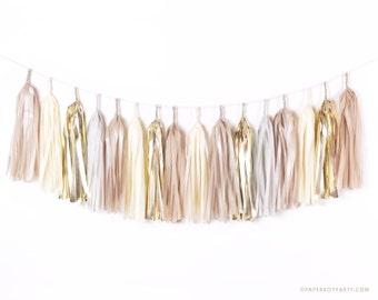 DIY Tissue Tassel Garland Kit - Champagne Gold - Gray, Ivory, Nude, White Paper Modern Room Wedding Shower Tassle Decor Balloon Tails