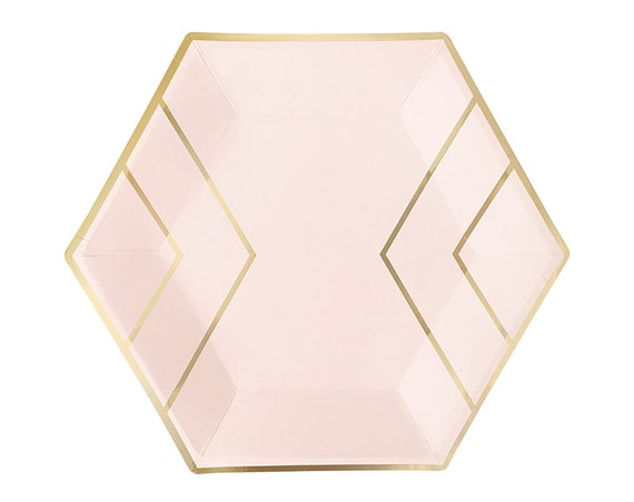 sc 1 st  Etsy & Blush Pink u0026 Gold Paper Plates Dinner Hexagon Foil