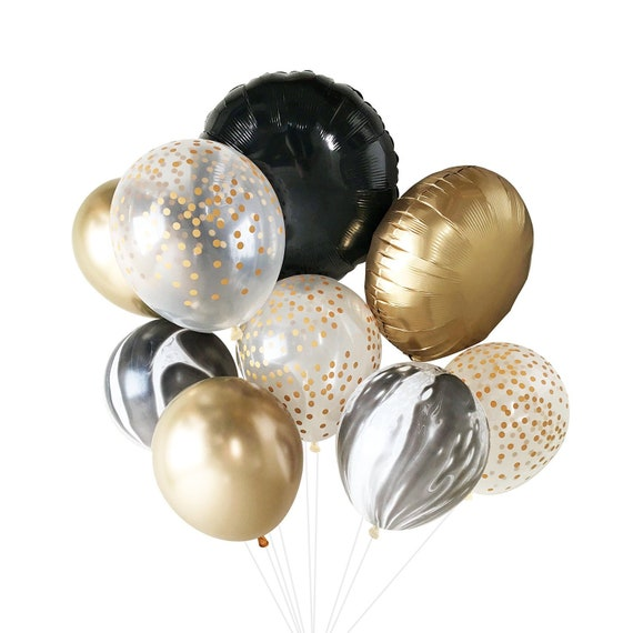 New Years Eve Balloons Decorations Black White Gold Etsy