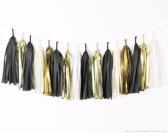 Black White & Gold Tassel Garland DIY Kit - Black Tie - B4 Ivory Paper Modern Room Wedding Shower Tissue Tassle Decor Balloon Tail New Years