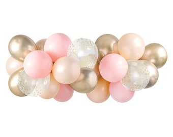 Balloon Garland Kit - Pink Blush & Gold — ( Balloon Arch / Balloon Decor / Blush Pink Wedding / Blush Pink and Gold Bridal Shower ) — 5 feet