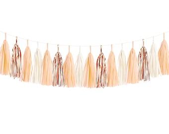 DIY Tissue Tassel Garland Kit - Peach Ivory, Blush, Copper, Rose Gold White Paper Room Wedding Shower Tassle Decor Balloon Tail