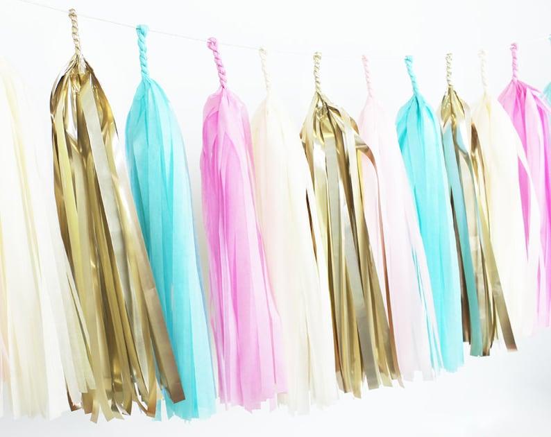 Gold Paper Room Baby Shower Tassle Decor Balloon Tail Blush Blue Light Pink Cotton Candy Gender Reveal Tassel Garland DIY Kit Banner