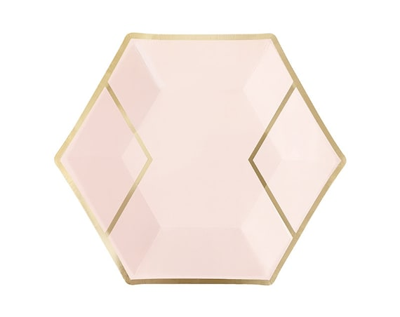 blush pink gold paper plates dessert hexagon foil. Black Bedroom Furniture Sets. Home Design Ideas