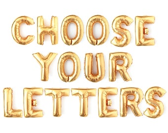 """Letter Balloons / Letter Balloon Banner - Gold / Small 14"""" (16 inch) / Custom Phrase, Word, Name, or Number / Party Decorations"""