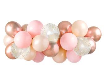 Balloon Garland Kit - Pink Blush & Rose Gold — ( Balloon Arch / Balloon Decor / Blush Wedding / Blush Pink and Gold Bridal Shower ) — 5 feet