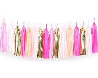 Pink Tassel Garland DIY Kit - Pink Party - Hot Pink, Peach, Blush, Light Pink, Gold Paper Room Wedding Shower Tassle Decor Balloon Tail