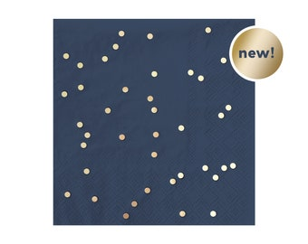 Navy & Gold Paper Napkins - Confetti Foil (Foiled) Cocktail Wedding Bridal Shower Bachelorette Party First Birthday Ideas One / Polka Dot
