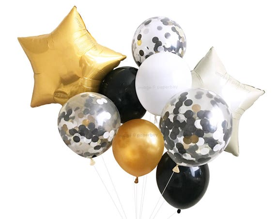 New Years Eve Decorations Black White Gold Balloons Etsy
