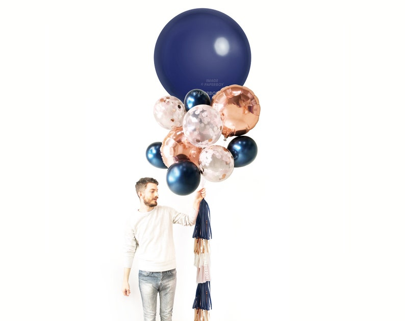 Navy Balloons Balloon Bouquet With Tassel Tail Blush 1st Etsy