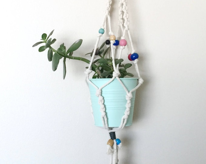 Neutral Macrame Plant Hanger with Gem Tone Painted Wooden Beads