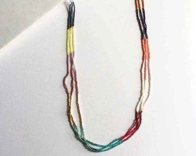 Rainbow Seed Bead Multi Strand Necklace